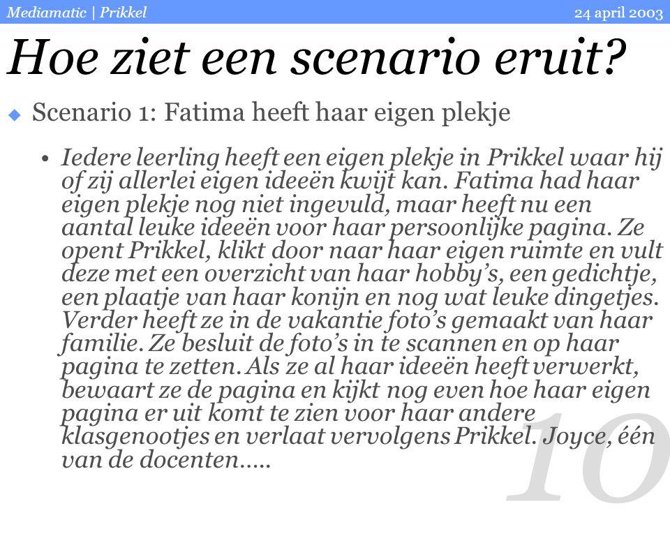 10 24 april 2003Mediamatic | Prikkel  Scenario 1: Fatima heeft haar eigen plekje Iedere leerling heeft een eigen plekje in Prikkel waar hij of zij al