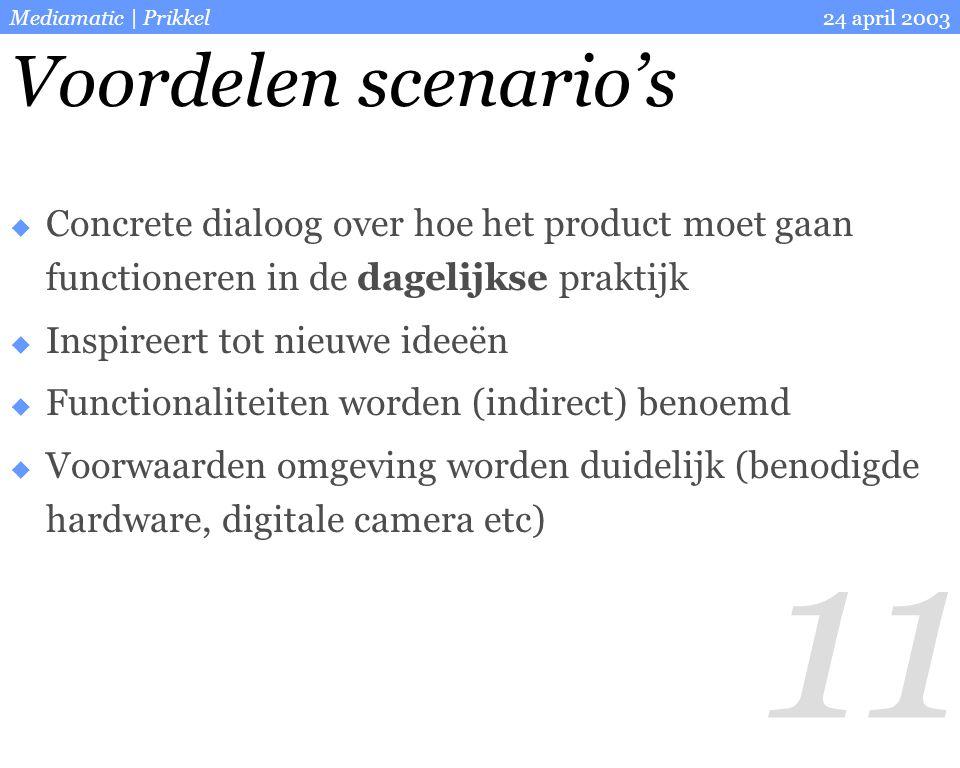 11 24 april 2003Mediamatic | Prikkel Voordelen scenario's  Concrete dialoog over hoe het product moet gaan functioneren in de dagelijkse praktijk  I
