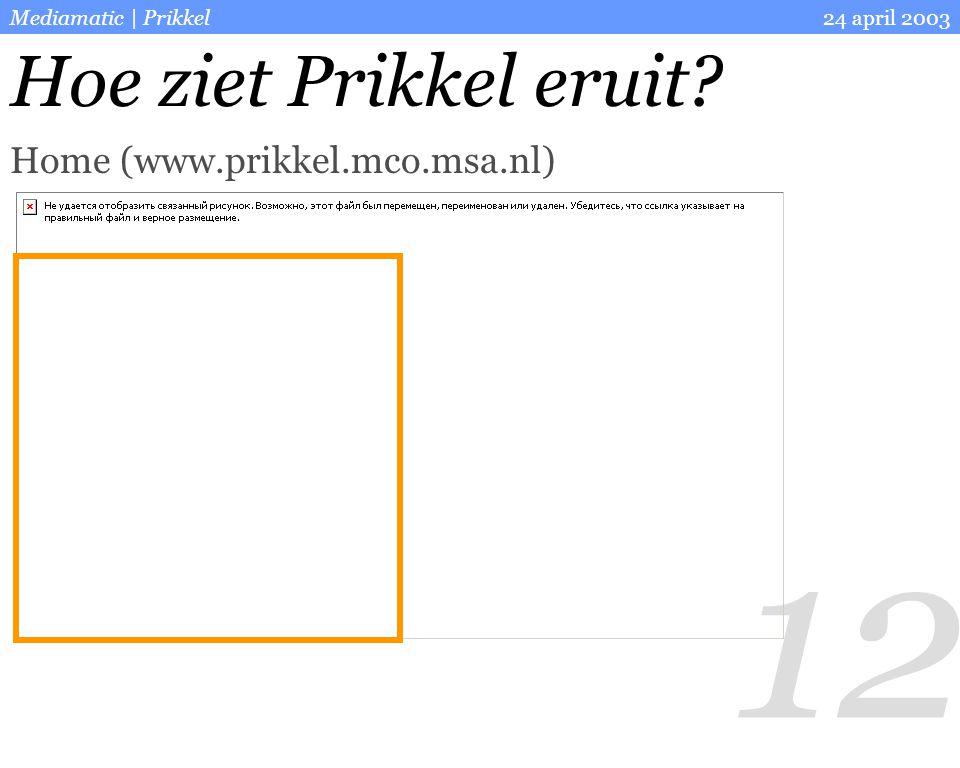 12 24 april 2003Mediamatic | Prikkel Hoe ziet Prikkel eruit? Home (www.prikkel.mco.msa.nl)