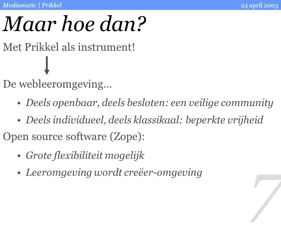 7 24 april 2003Mediamatic | Prikkel Maar hoe dan? Met Prikkel als instrument! De webleeromgeving... Deels openbaar, deels besloten: een veilige commun
