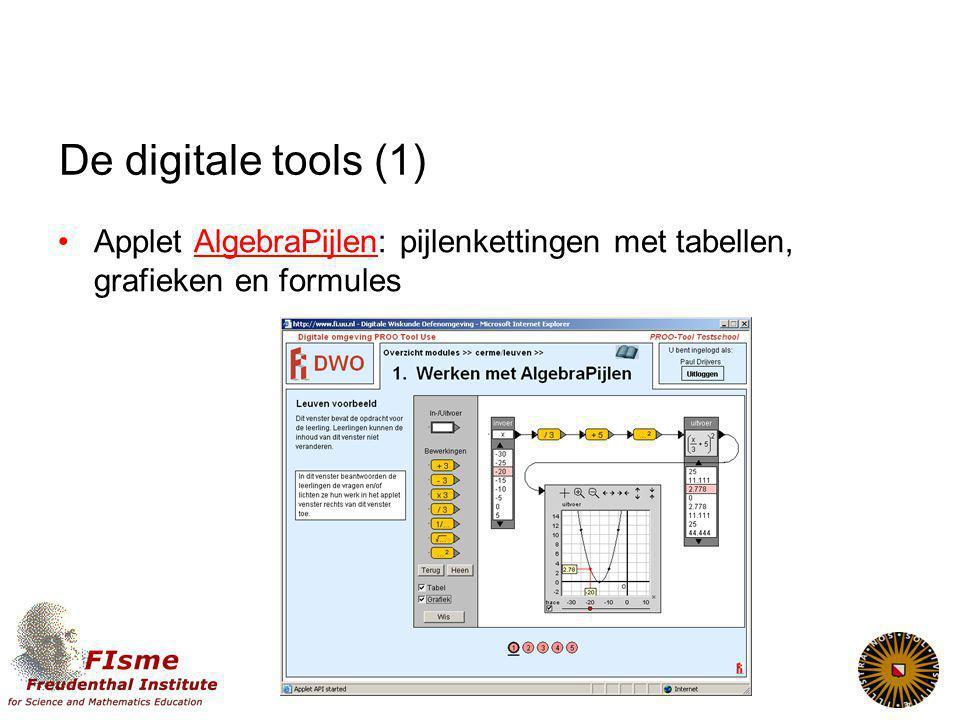 De digitale tools (1) Applet AlgebraPijlen: pijlenkettingen met tabellen, grafieken en formulesAlgebraPijlen