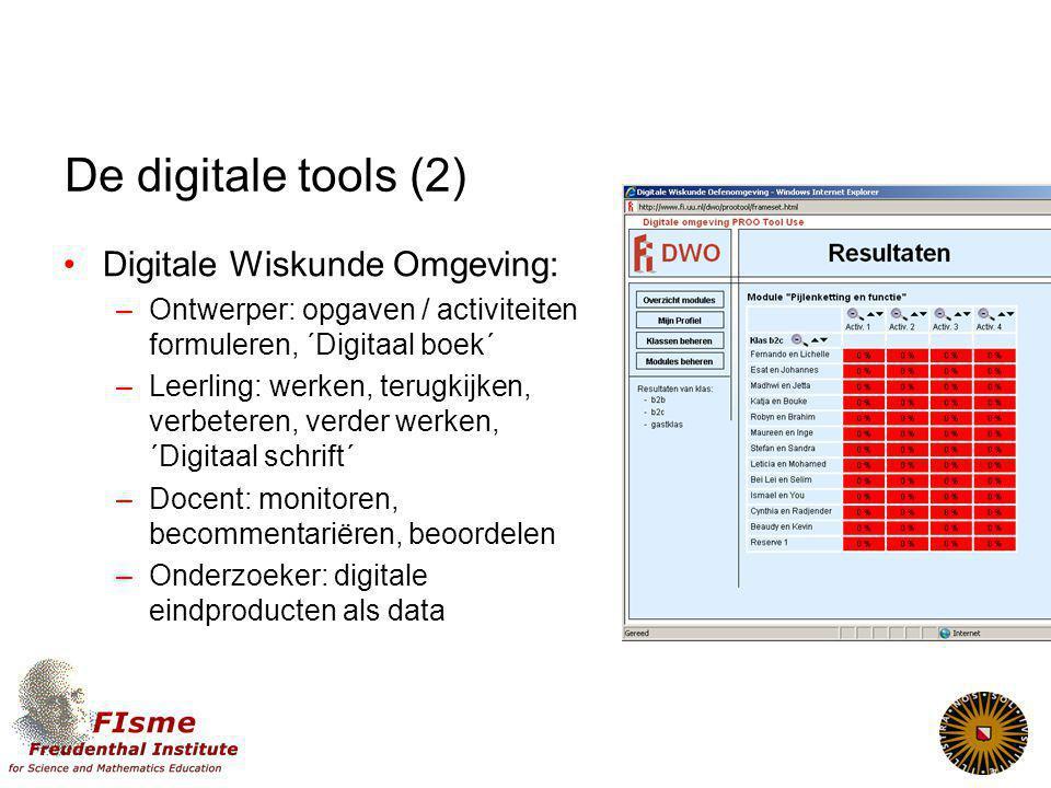 De digitale tools (2) Digitale Wiskunde Omgeving: –Ontwerper: opgaven / activiteiten formuleren, ´Digitaal boek´ –Leerling: werken, terugkijken, verbeteren, verder werken, ´Digitaal schrift´ –Docent: monitoren, becommentariëren, beoordelen –Onderzoeker: digitale eindproducten als data