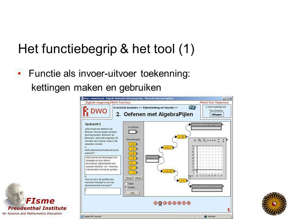 Het functiebegrip & het tool (1) Functie als invoer-uitvoer toekenning: kettingen maken en gebruiken