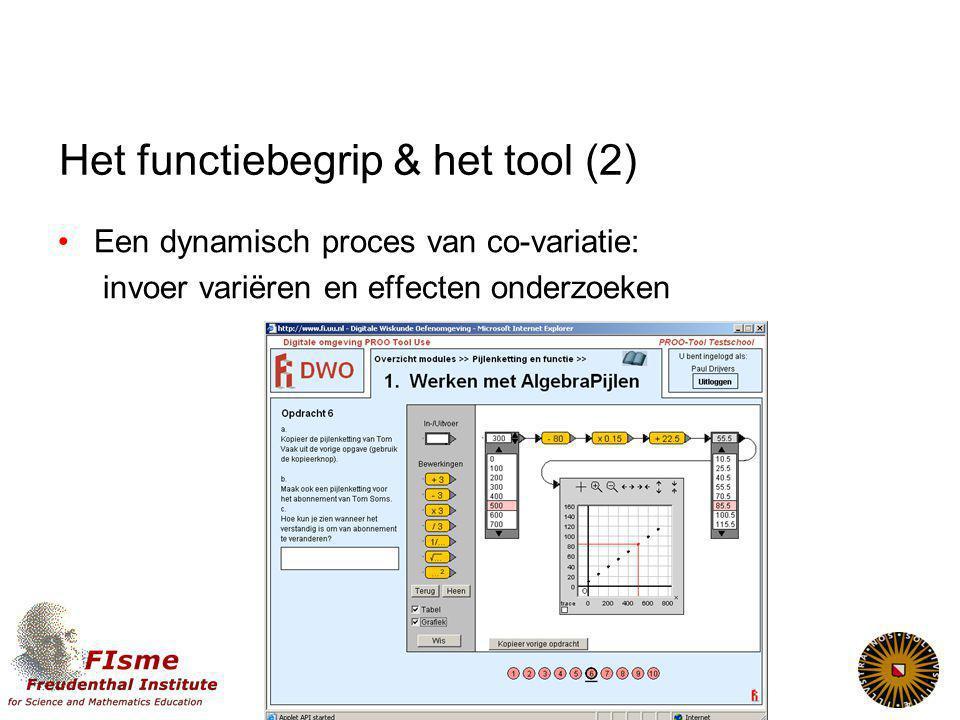 Het functiebegrip & het tool (2) Een dynamisch proces van co-variatie: invoer variëren en effecten onderzoeken