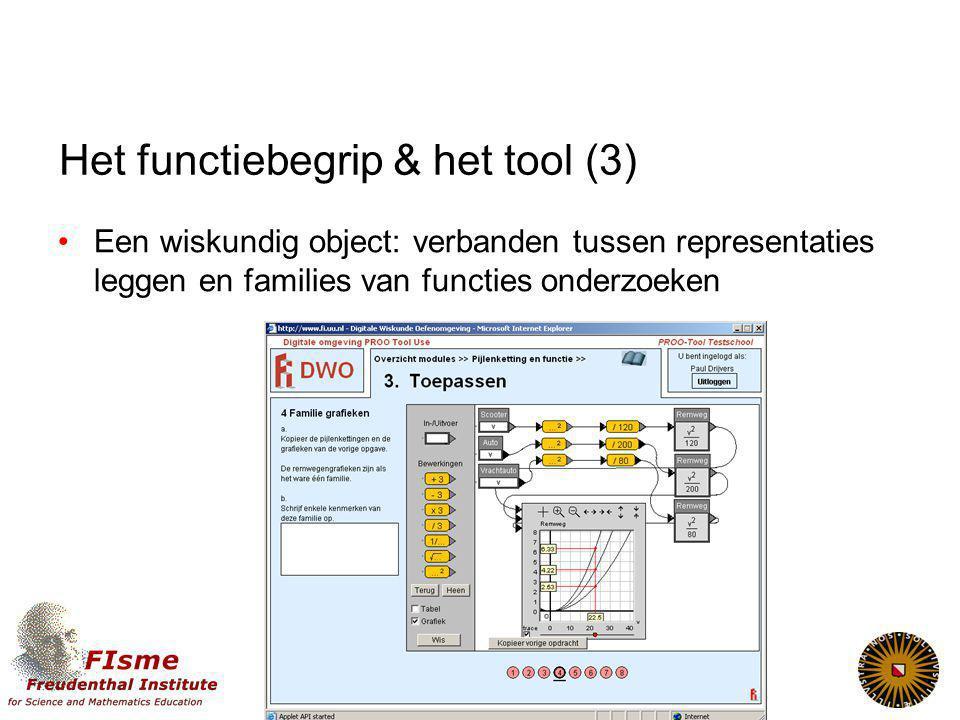 Het functiebegrip & het tool (3) Een wiskundig object: verbanden tussen representaties leggen en families van functies onderzoeken