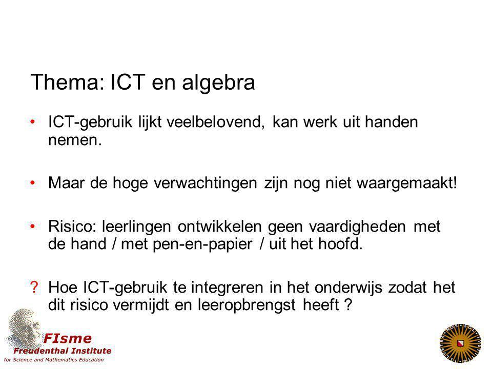 Thema: ICT en algebra ICT-gebruik lijkt veelbelovend, kan werk uit handen nemen.