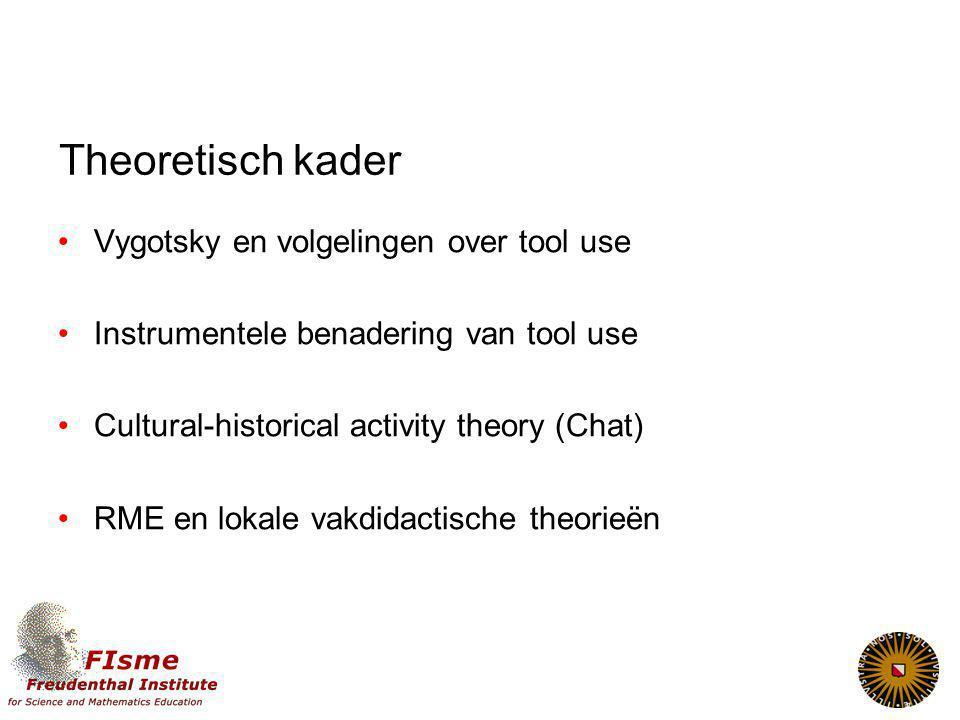 Theoretisch kader Vygotsky en volgelingen over tool use Instrumentele benadering van tool use Cultural-historical activity theory (Chat) RME en lokale vakdidactische theorieën