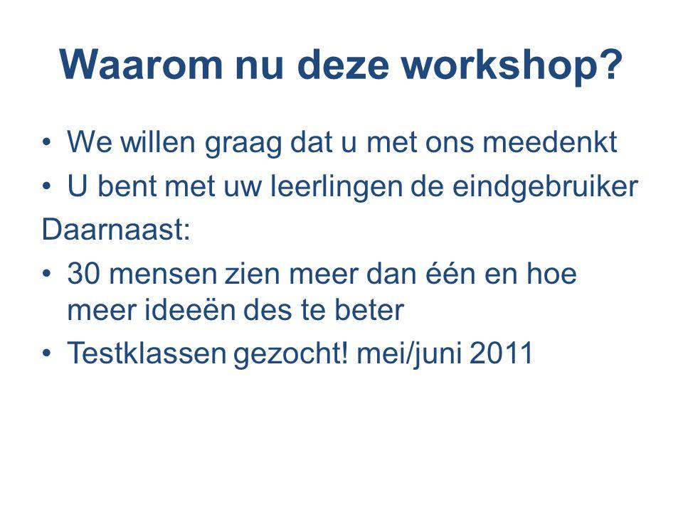 Waarom nu deze workshop.