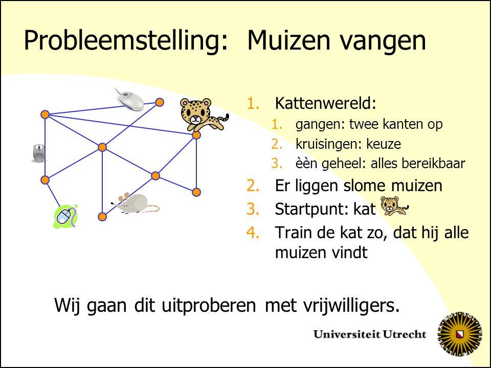 Probleemstelling: Muizen vangen 1.Kattenwereld: 1.gangen: twee kanten op 2.kruisingen: keuze 3.èèn geheel: alles bereikbaar 2.Er liggen slome muizen 3