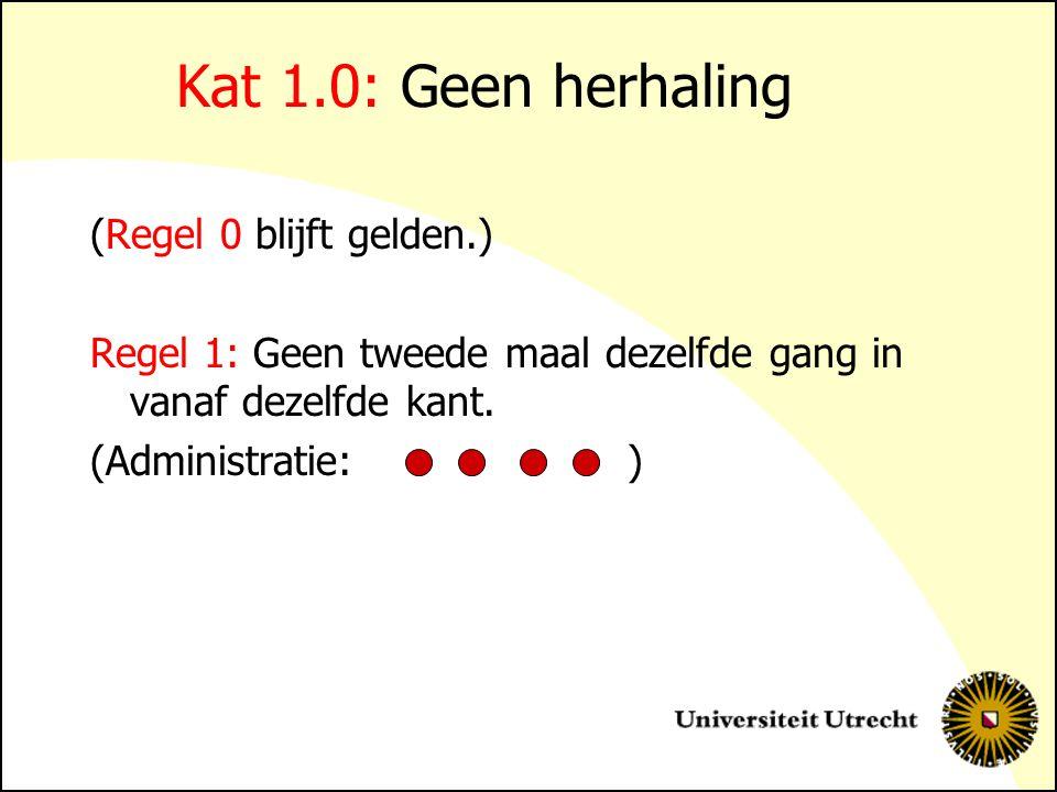 Kat 1.0: Geen herhaling (Regel 0 blijft gelden.) Regel 1: Geen tweede maal dezelfde gang in vanaf dezelfde kant. (Administratie: )