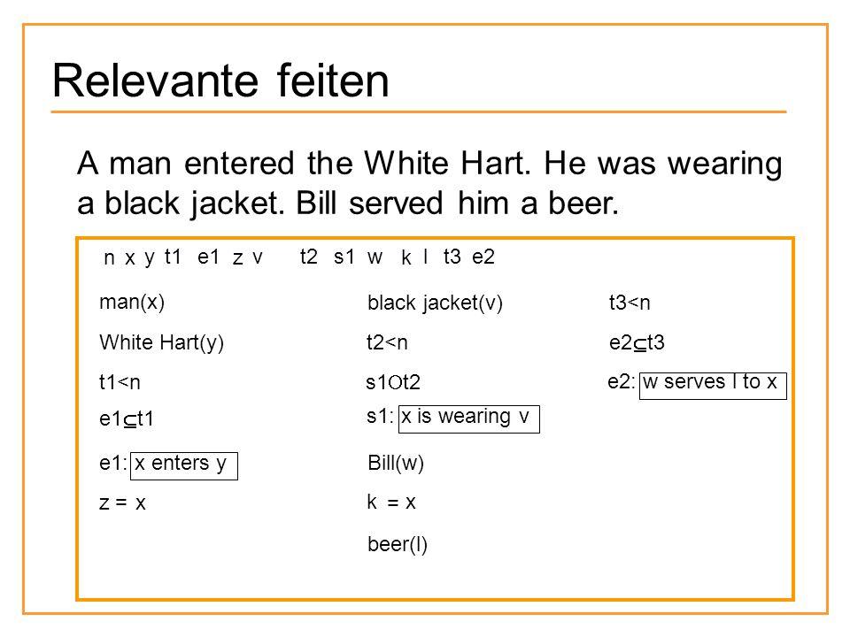 Relevante feiten e1 e2 e1 A man entered the White Hart.