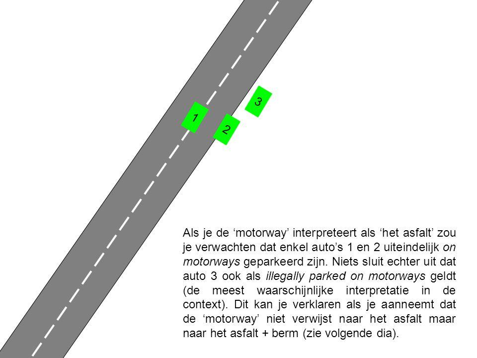 1 2 3 Als je de 'motorway' interpreteert als 'het asfalt' zou je verwachten dat enkel auto's 1 en 2 uiteindelijk on motorways geparkeerd zijn.