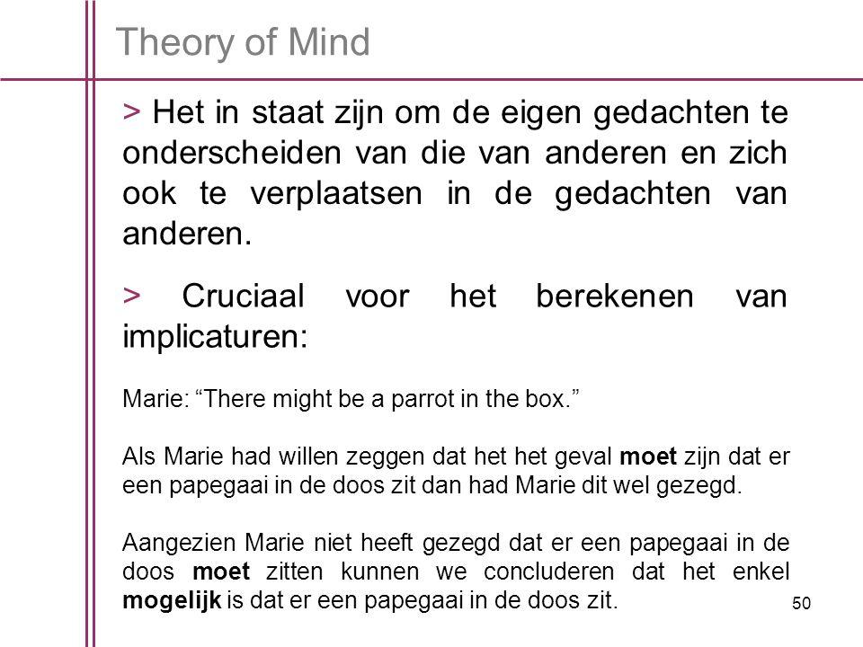 50 Theory of Mind > Het in staat zijn om de eigen gedachten te onderscheiden van die van anderen en zich ook te verplaatsen in de gedachten van anderen.