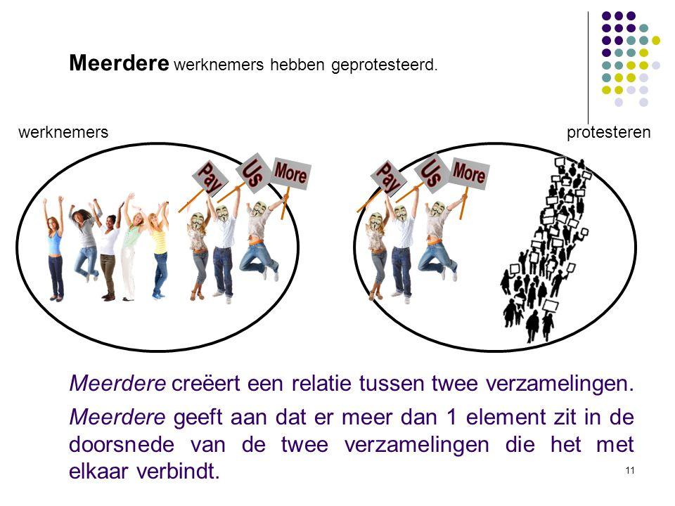 11 werknemers protesteren Meerdere creëert een relatie tussen twee verzamelingen.
