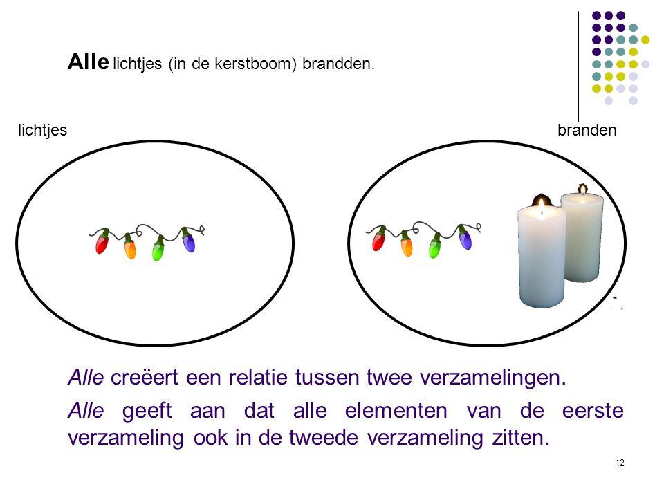 12 lichtjes branden Alle creëert een relatie tussen twee verzamelingen.
