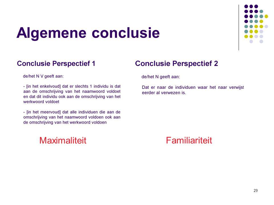 29 Algemene conclusie Maximaliteit Familiariteit