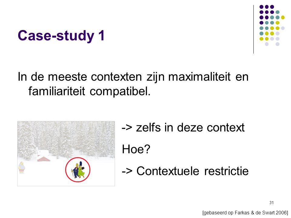 31 Case-study 1 In de meeste contexten zijn maximaliteit en familiariteit compatibel.