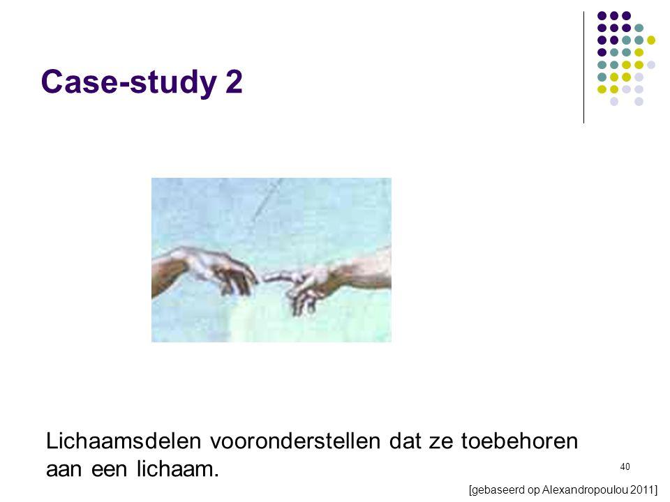 40 Case-study 2 [gebaseerd op Alexandropoulou 2011] Lichaamsdelen vooronderstellen dat ze toebehoren aan een lichaam.