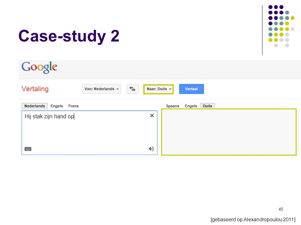 45 Case-study 2 [gebaseerd op Alexandropoulou 2011]