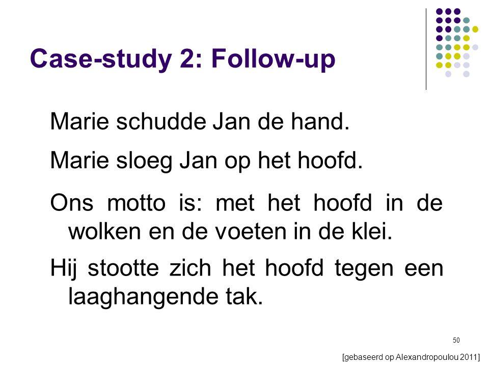 50 Marie schudde Jan de hand. Case-study 2: Follow-up Marie sloeg Jan op het hoofd.