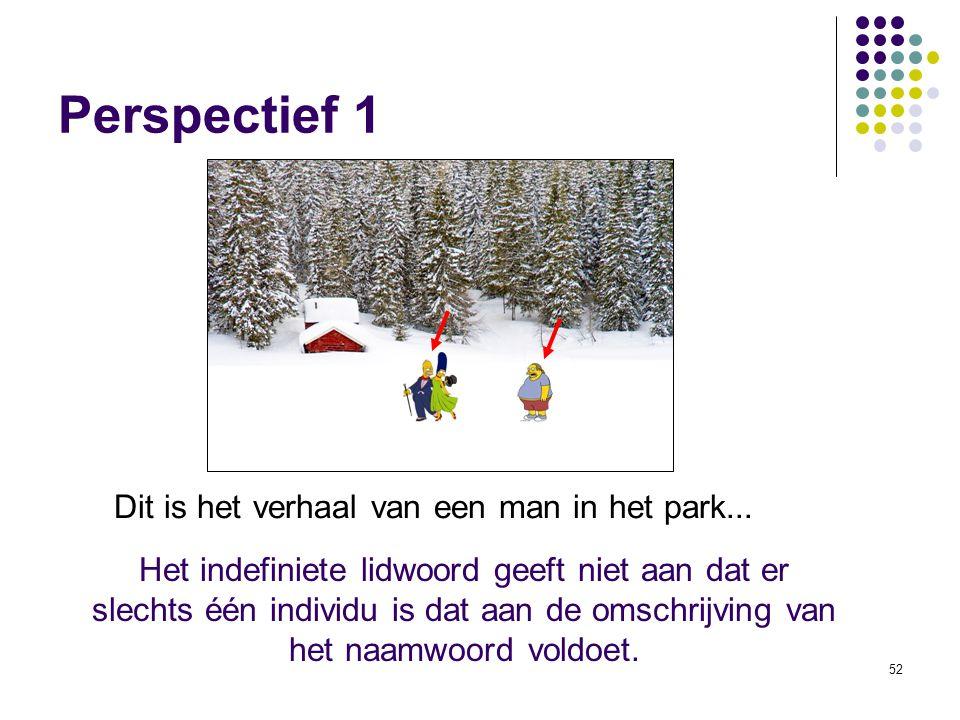 52 Perspectief 1 Dit is het verhaal van een man in het park...