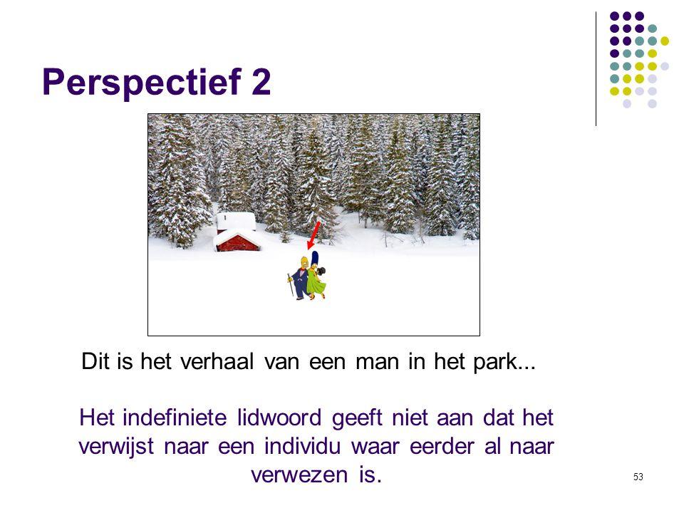 53 Perspectief 2 Dit is het verhaal van een man in het park...