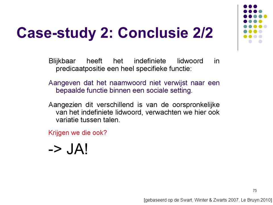 75 Case-study 2: Conclusie 2/2 [gebaseerd op de Swart, Winter & Zwarts 2007, Le Bruyn 2010] -> JA!