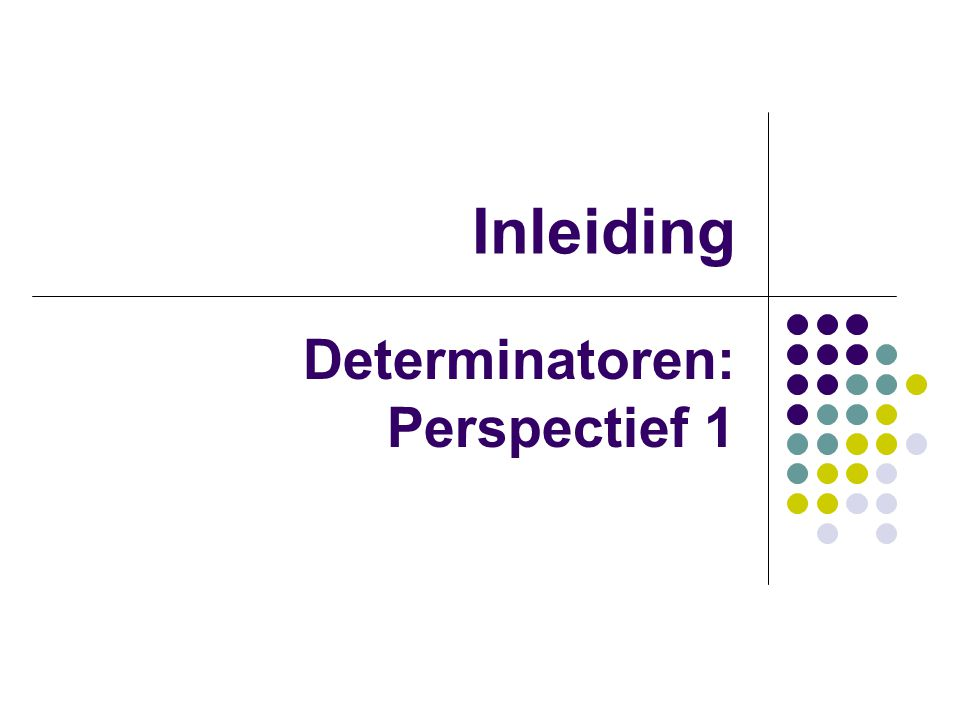 Inleiding Determinatoren: Perspectief 1