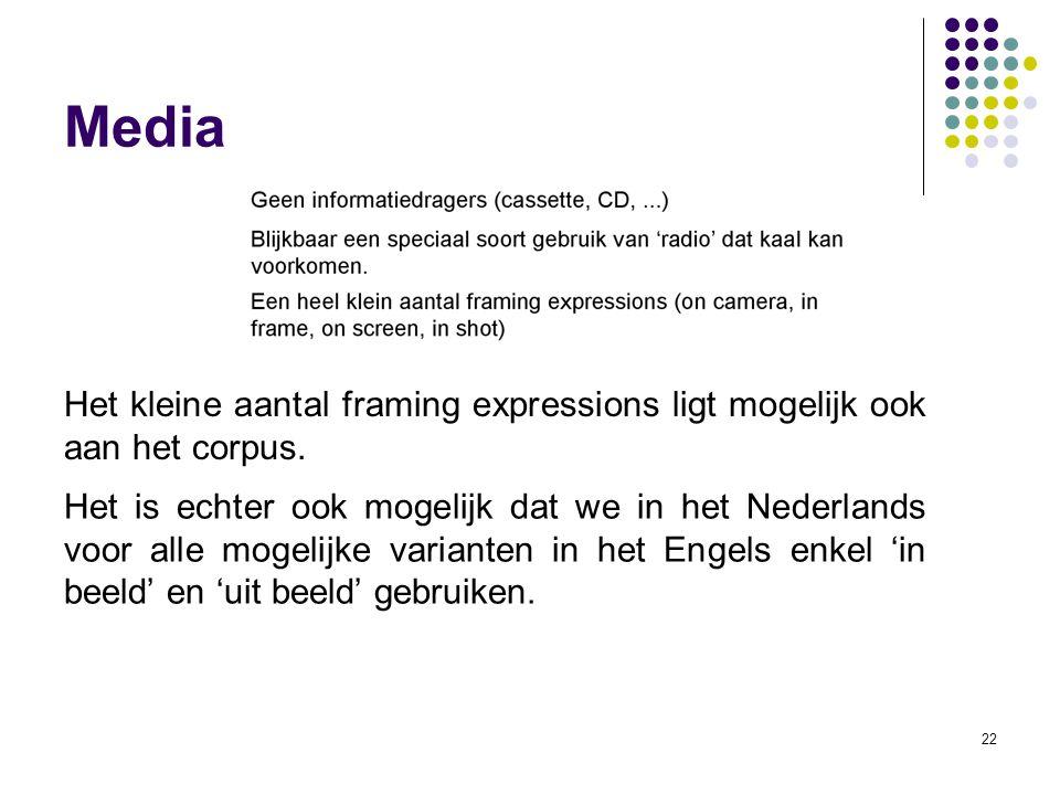 22 Media Het kleine aantal framing expressions ligt mogelijk ook aan het corpus. Het is echter ook mogelijk dat we in het Nederlands voor alle mogelij