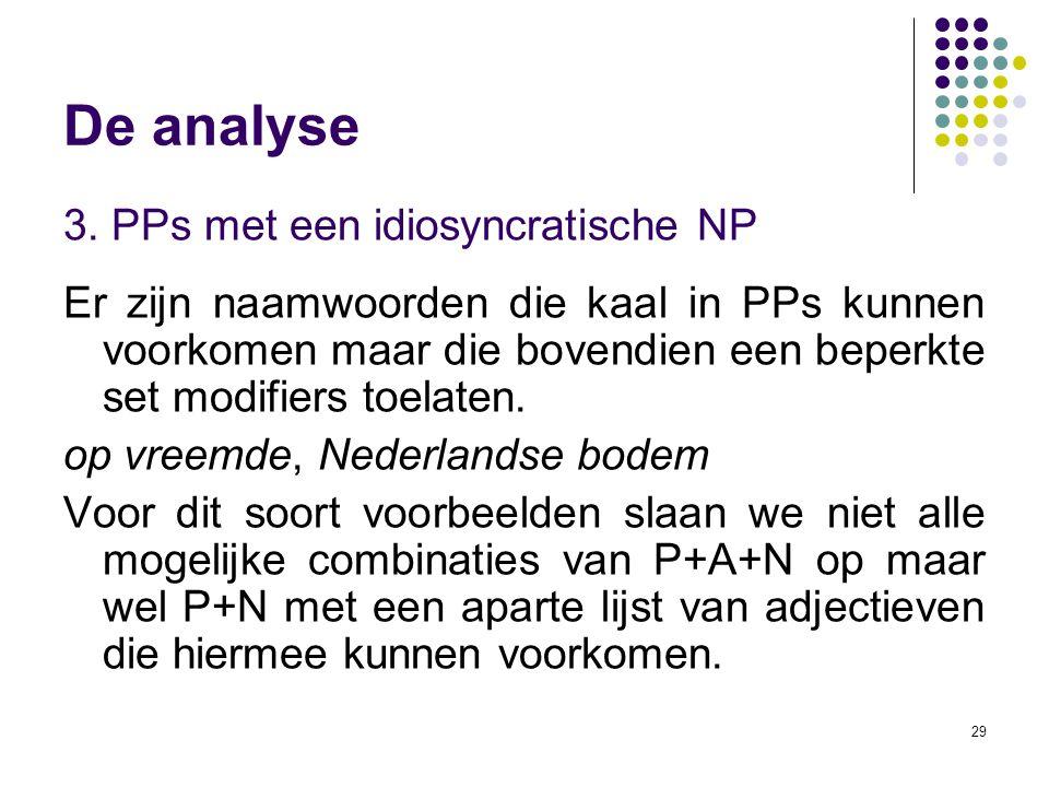 29 De analyse 3. PPs met een idiosyncratische NP Er zijn naamwoorden die kaal in PPs kunnen voorkomen maar die bovendien een beperkte set modifiers to