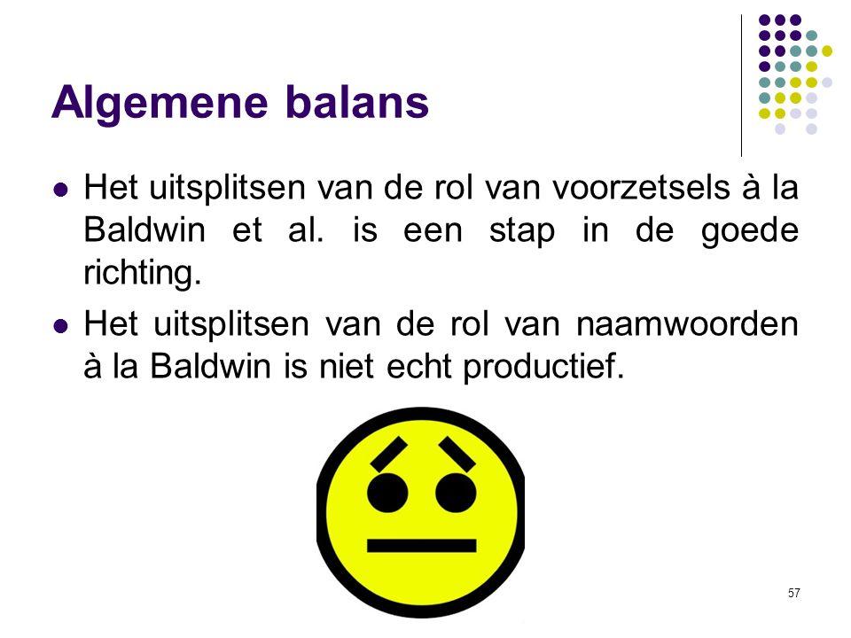 57 Algemene balans Het uitsplitsen van de rol van voorzetsels à la Baldwin et al. is een stap in de goede richting. Het uitsplitsen van de rol van naa