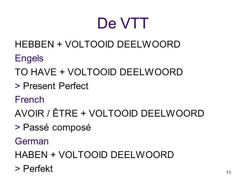11 De VTT HEBBEN + VOLTOOID DEELWOORD Engels TO HAVE + VOLTOOID DEELWOORD > Present Perfect French AVOIR / ÊTRE + VOLTOOID DEELWOORD > Passé composé G