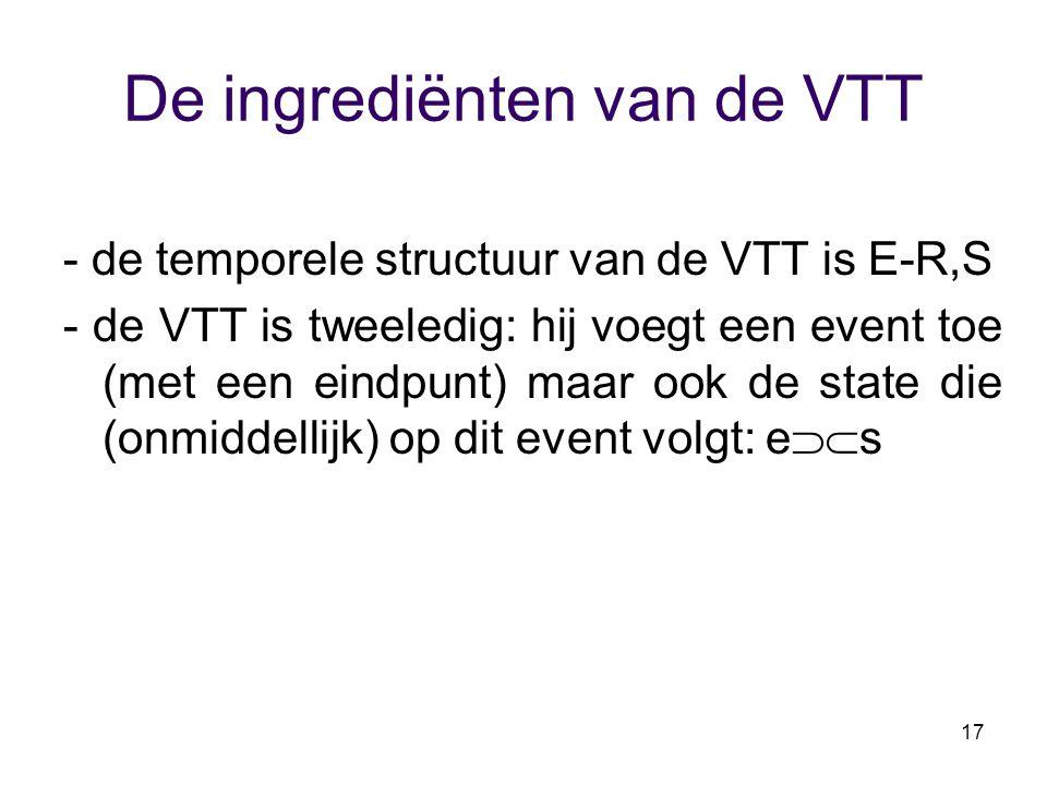 17 De ingrediënten van de VTT - de temporele structuur van de VTT is E-R,S - de VTT is tweeledig: hij voegt een event toe (met een eindpunt) maar ook