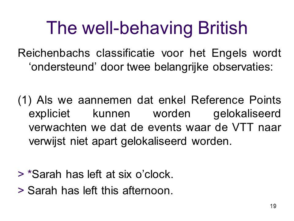 19 The well-behaving British Reichenbachs classificatie voor het Engels wordt 'ondersteund' door twee belangrijke observaties: (1) Als we aannemen dat