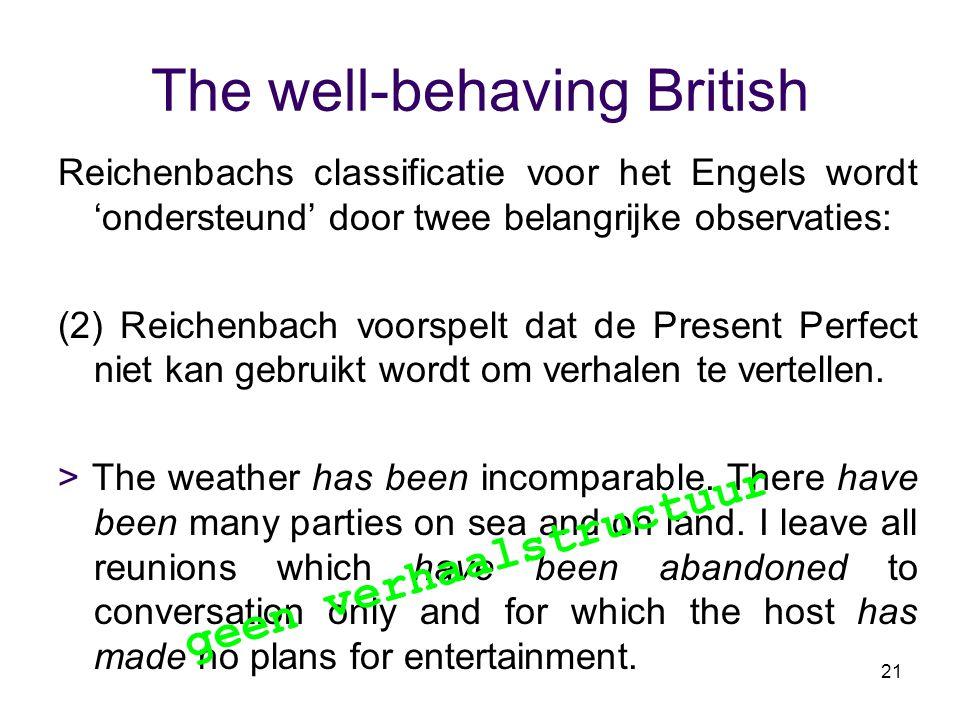 21 The well-behaving British Reichenbachs classificatie voor het Engels wordt 'ondersteund' door twee belangrijke observaties: (2) Reichenbach voorspe