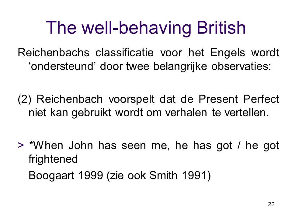 22 The well-behaving British Reichenbachs classificatie voor het Engels wordt 'ondersteund' door twee belangrijke observaties: (2) Reichenbach voorspe