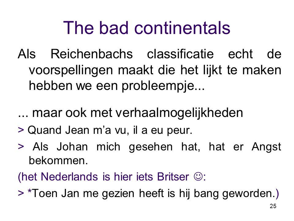 25 The bad continentals Als Reichenbachs classificatie echt de voorspellingen maakt die het lijkt te maken hebben we een probleempje...... maar ook me