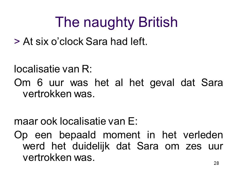 28 The naughty British > At six o'clock Sara had left. localisatie van R: Om 6 uur was het al het geval dat Sara vertrokken was. maar ook localisatie