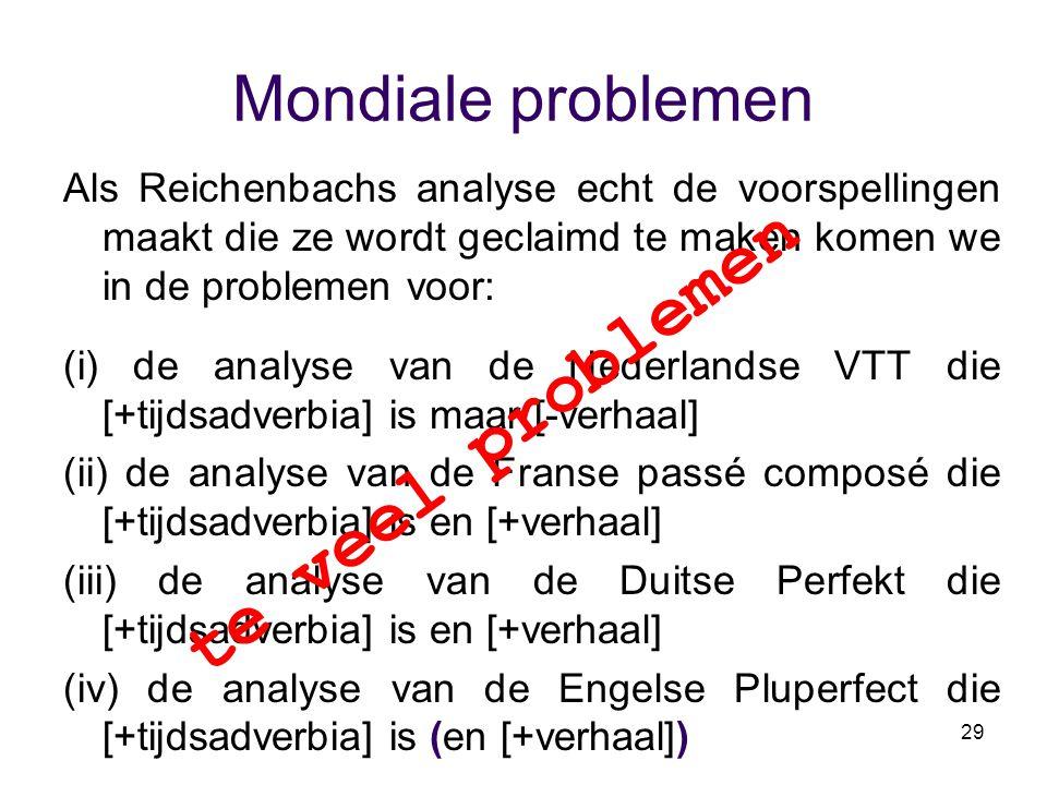 29 Mondiale problemen Als Reichenbachs analyse echt de voorspellingen maakt die ze wordt geclaimd te maken komen we in de problemen voor: (i) de analy