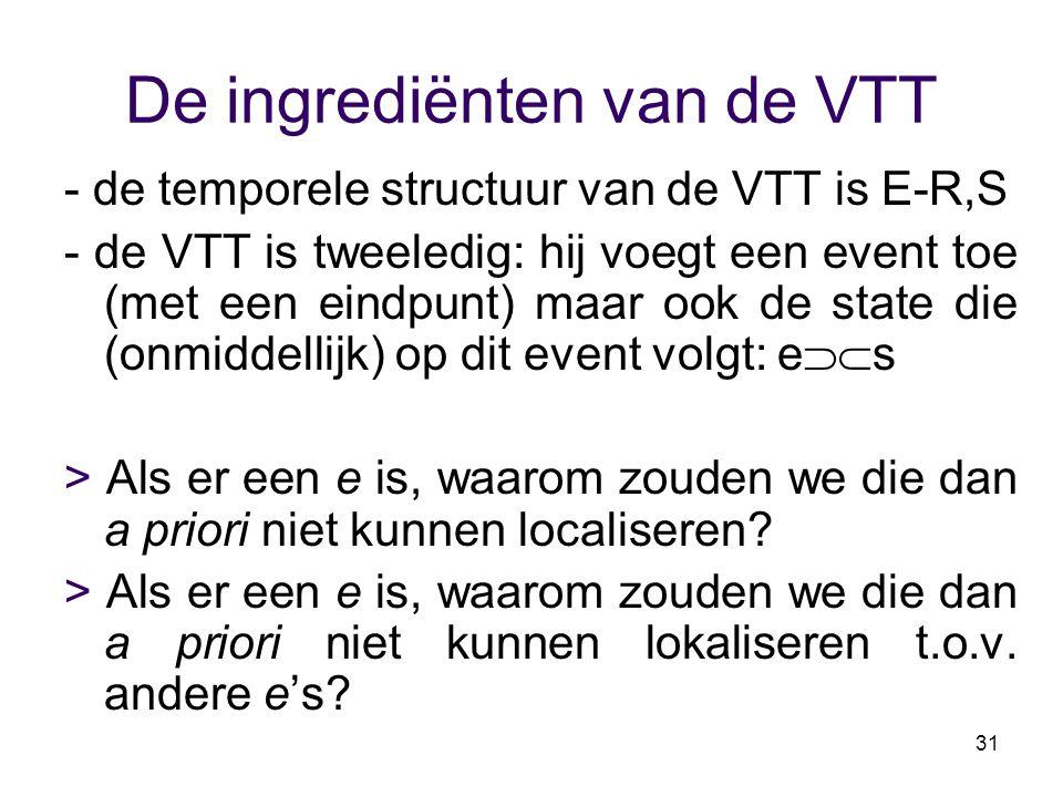 31 De ingrediënten van de VTT - de temporele structuur van de VTT is E-R,S - de VTT is tweeledig: hij voegt een event toe (met een eindpunt) maar ook