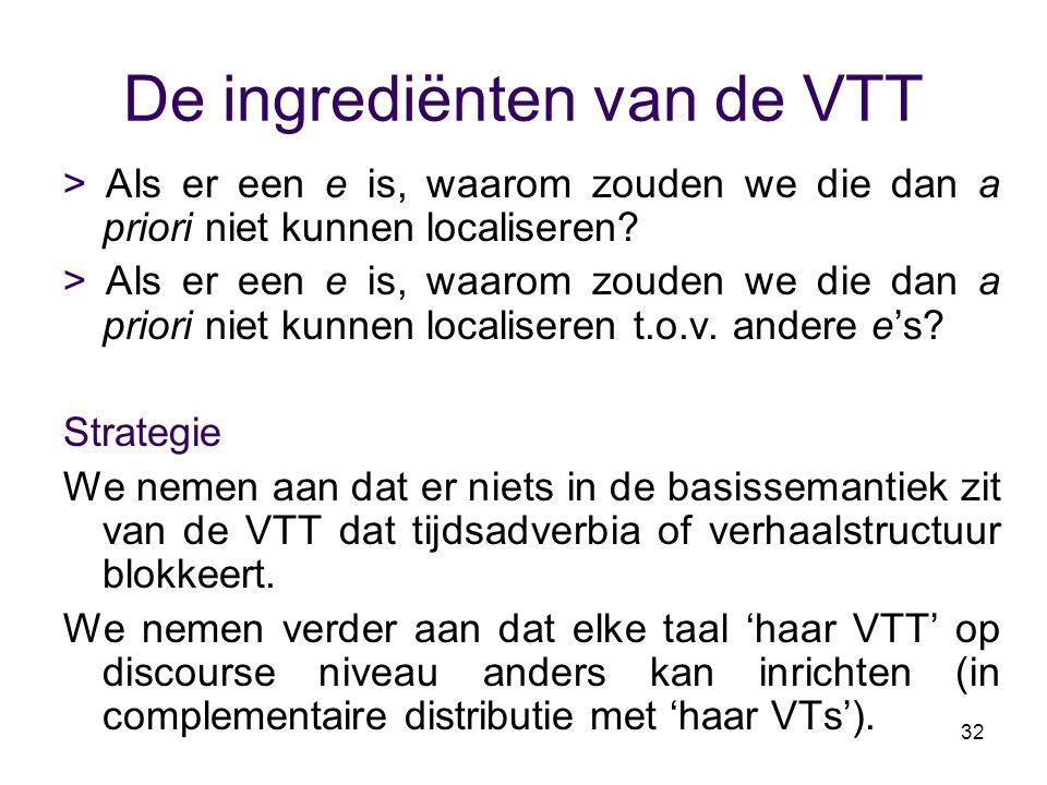 32 De ingrediënten van de VTT > Als er een e is, waarom zouden we die dan a priori niet kunnen localiseren? > Als er een e is, waarom zouden we die da