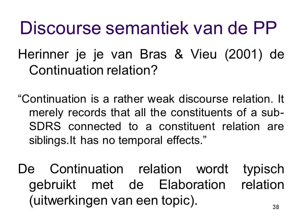 """38 Discourse semantiek van de PP Herinner je je van Bras & Vieu (2001) de Continuation relation? """"Continuation is a rather weak discourse relation. It"""