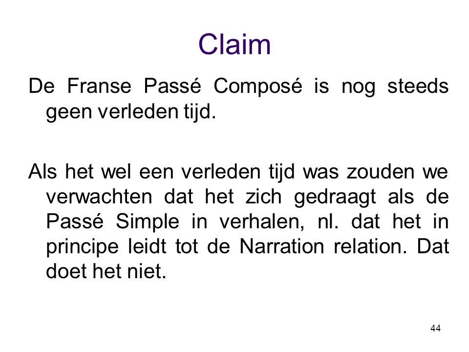 44 Claim De Franse Passé Composé is nog steeds geen verleden tijd. Als het wel een verleden tijd was zouden we verwachten dat het zich gedraagt als de