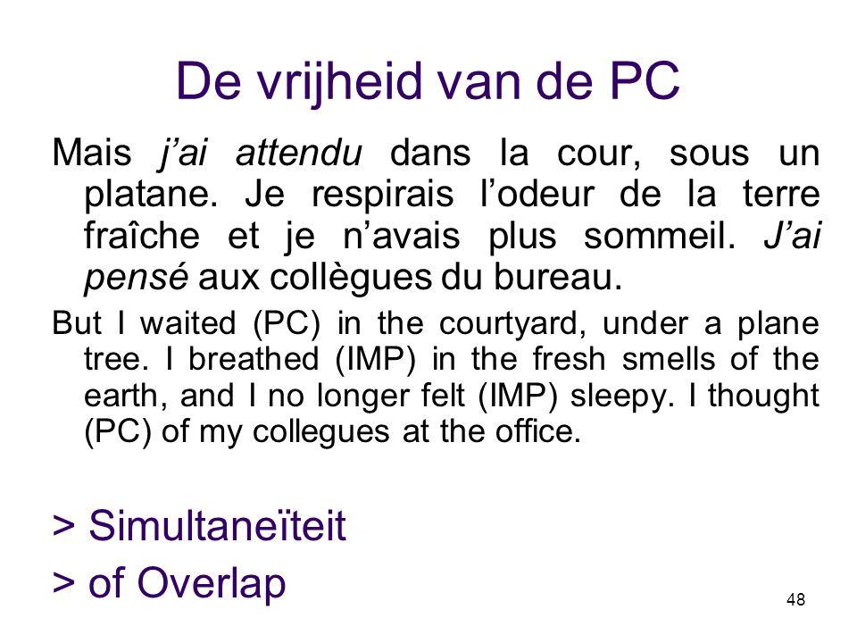 48 De vrijheid van de PC Mais j'ai attendu dans la cour, sous un platane. Je respirais l'odeur de la terre fraîche et je n'avais plus sommeil. J'ai pe