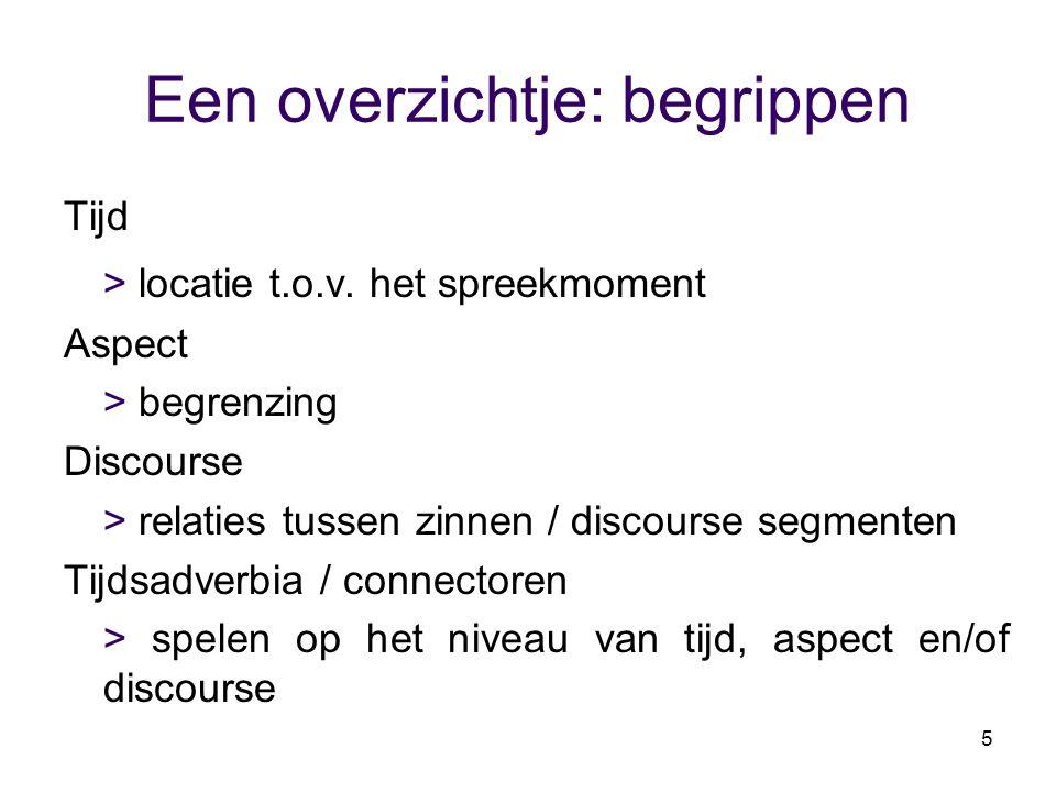 5 Een overzichtje: begrippen Tijd > locatie t.o.v. het spreekmoment Aspect > begrenzing Discourse > relaties tussen zinnen / discourse segmenten Tijds