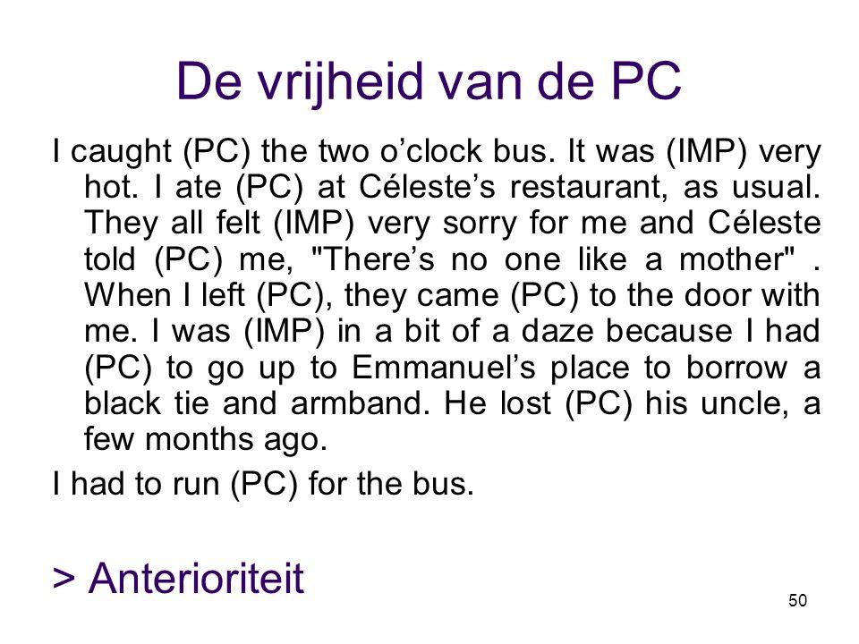 50 De vrijheid van de PC I caught (PC) the two o'clock bus. It was (IMP) very hot. I ate (PC) at Céleste's restaurant, as usual. They all felt (IMP) v
