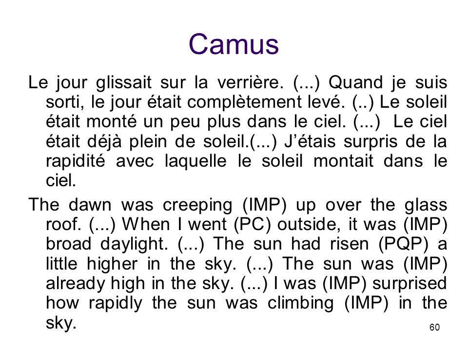 60 Camus Le jour glissait sur la verrière. (...) Quand je suis sorti, le jour était complètement levé. (..) Le soleil était monté un peu plus dans le