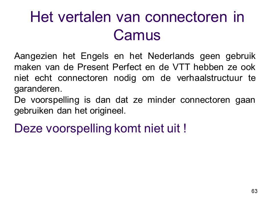 63 Het vertalen van connectoren in Camus Aangezien het Engels en het Nederlands geen gebruik maken van de Present Perfect en de VTT hebben ze ook niet