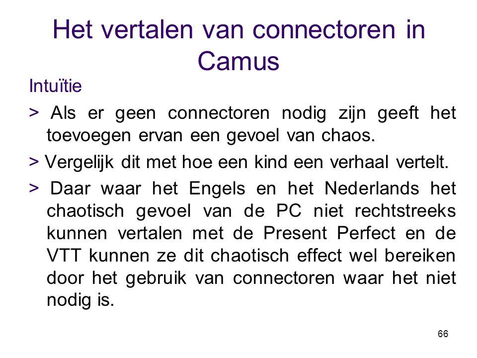 66 Het vertalen van connectoren in Camus Intuïtie > Als er geen connectoren nodig zijn geeft het toevoegen ervan een gevoel van chaos. > Vergelijk dit