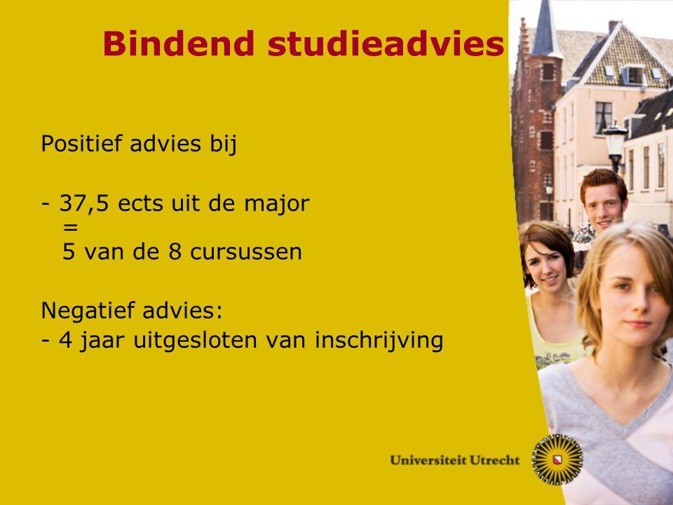 Bindend studieadvies Positief advies bij - 37,5 ects uit de major = 5 van de 8 cursussen Negatief advies: - 4 jaar uitgesloten van inschrijving